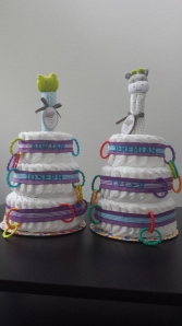 Fantabulous diaper cakes from Auntie Aur & Uncle Tim! They spent some great QT with the boys:)